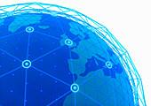 Globe focused on Europe, illustration