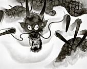 Menacing dragon emerging from fog, illustration