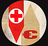 Red cross with Euro symbol on arrows, illustration
