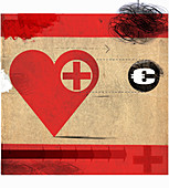Heart with red cross following Euro symbol, illustration