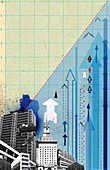 Urban cityscape with arrows on graph paper, illustration