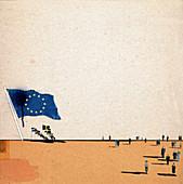 European Union flag overshadowing small flags, illustration