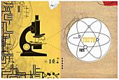 Microscope and molecular symbol, illustration