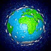 Globe focused on Africa and Europe, illustration