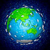 Globe focused on Asia and Australia, illustration