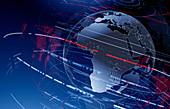 Data swirling around Africa on digital globe, illustration