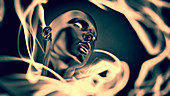 Swirling surrounding glowing mannequin head, illustration