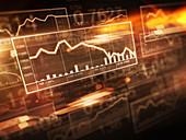 Decreasing graph on stock market screen, illustration