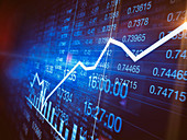 Improvement in graph on stock market screen, illustration