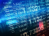 Stock prices on stock market trading screens, illustration