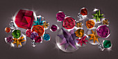 Geometric shapes in bubbles, illustration