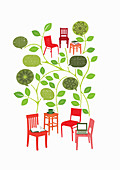 Chairs with leaves and speech bubbles, illustration