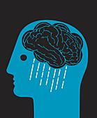 Brain as storm cloud, illustration