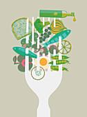 Healthy foods speared on large fork, illustration