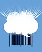 Cloud shaped speech bubble over barcode, illustration