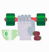 Hand lifting dumbbell next to cup of tea, illustration