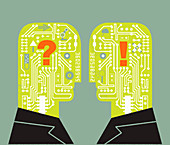 Two men face to face with circuit board heads, illustration