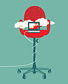 Laptop cloud computing on tall office chair, illustration