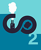 Factory chimneys and CO2 emissions, illustration