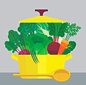 Casserole dish full of vegetables, illustration