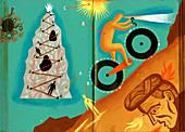 Man riding bike up steep hill, illustration