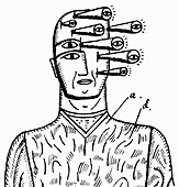 Eyes growing out of man's head, illustration