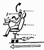 Businessman working in moving office chair, illustration