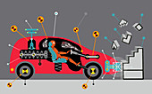 Crash test dummy in car hitting wall, illustration