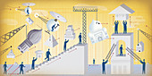 People moving and assembling structures, illustration