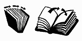 Arrows turning pages of books, illustration