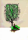 Man using cell phone below circuit board tree, illustration