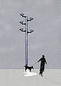 CCTV cameras above man and urinating dog, illustration