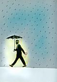 Glowing businessman walking in rain, illustration