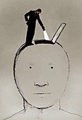 Man with flashlight looking into large head, illustration