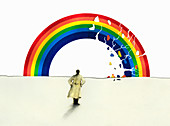Man in trench coat looking at cracking rainbow, illustration