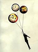 Man holding ascending clock balloons, illustration