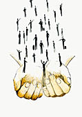 Cupped hands supporting business people, illustration