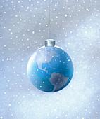 Snow falling around Christmas ornament, illustration
