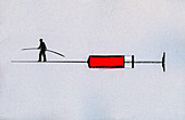 Businessman walking tightrope, illustration
