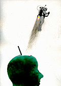 Man with jet pack emerging from green head, illustration
