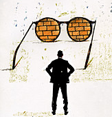 Businessman looking at brick wall, illustration