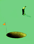 Golfer putting into oversized hole, illustration
