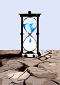 Water dripping in hourglass, illustration