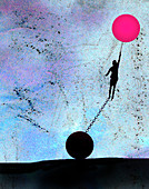 Woman on pink balloon held back by chain, illustration