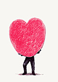 Man struggling to carry large heart shape, illustration