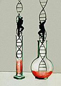 Businessmen climbing double helix ladders, illustration