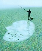 Man fishing inside lake shaped as human head, illustration