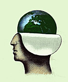 Globe revealed inside of profile of man's head, illustration