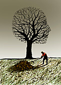 Man raking autumn leaves, illustration