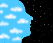 Sky and clouds inside of man's head, illustration